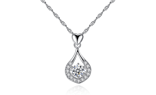 $19 for a Crystal Heart Tear Drop Pendant with a Luxury Velvet Jewellery Pouch (a $109 Value)