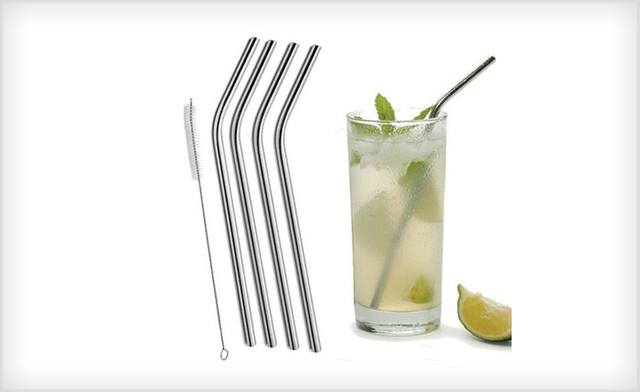 62% off 4-Pack or 8-Pack Stainless Steel Straws (Straight or Bent) - Shipping Included