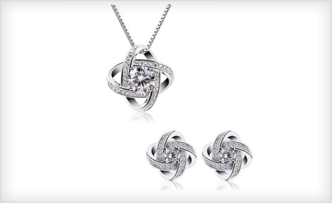 $19 for a Sterling Silver CZ Knot Crystal Set - Shipping Included (a $99 Value)