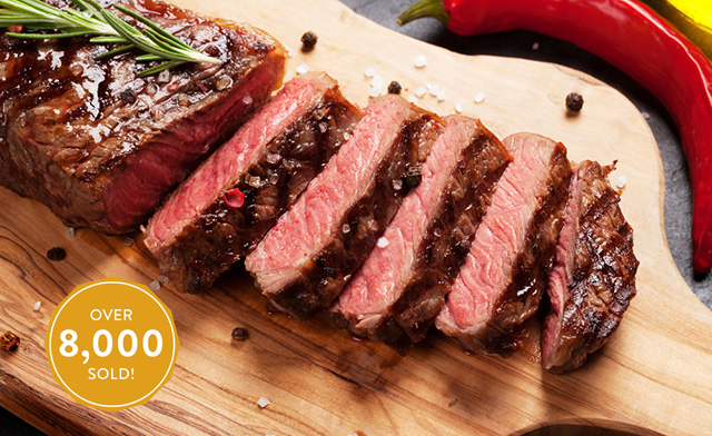 ENDS TODAY! $85 for 10 x 12 oz New York Hand-Cut AA/AAA Striploin Steaks (a $175 Value)